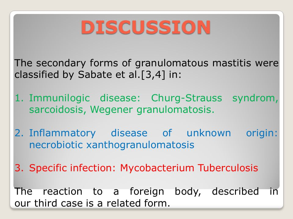DISCUSSION The secondary forms of granulomatous mastitis were classified by Sabate et al.[3,4] in: